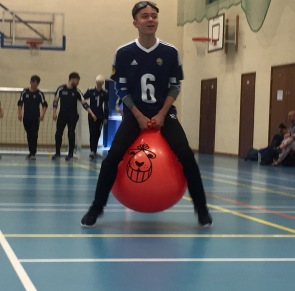 Liam on a space hopper