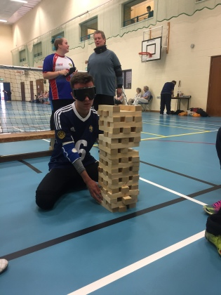 Liam and giant jenga