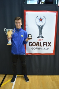 Liam with the Goalball Cup!