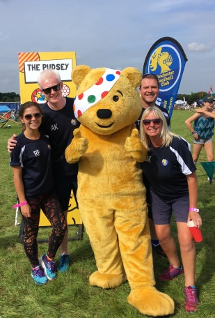 Coaches with Pudsey Bear at CarFest 17