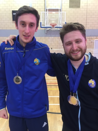 Chud and Alex collecting our silver medals